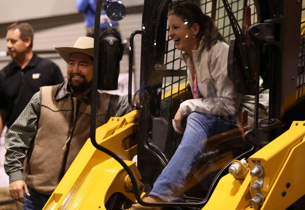 Maxine Davis of Mitchell, Oregon won a Skid Steer 262D at the American Angus National Convention in Kansas.