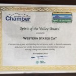 The Pocatello Chamber of Commerce presented Western States with their Spirit of the Valley award for our new building.